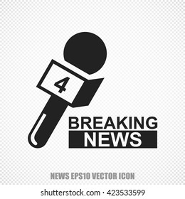 The universal vector icon on the news theme: Black Breaking News And Microphone. Modern flat design. For mobile and web design. EPS 10.