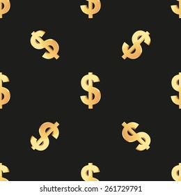 Universal vector seamless patterns tiling. Finance theme with gold dollar symbol. Endless texture can be used for wrapper, cover, package, pattern fills, surface textures.