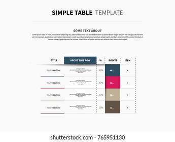 Universal vector table with color elements