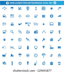 Universal Web, Computer, Networking blue style icon set,vector