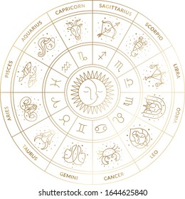 Universal Zodiac Wheel Calendar in Vector featuring horoscopes and symbols with Sun