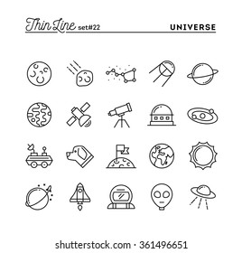 Universe, celestial bodies, rocket launching, astronomy and more, thin line icons set, vector illustration