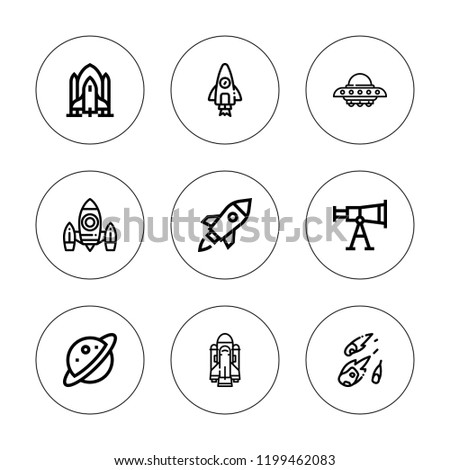 Universe Icon Set Collection 9 Outline Stock Vector Royalty Free