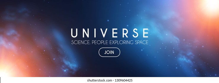 Universe. Infinity Space with Nebula and Star Light. Cosmos. Shining Blur Background. Vector illustration