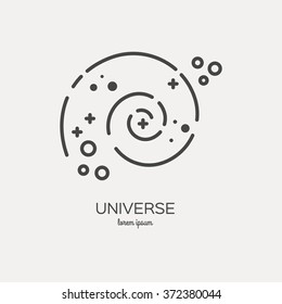 Universe logo made in trendy line stile vector. Space series. Space exploration and adventure symbol.