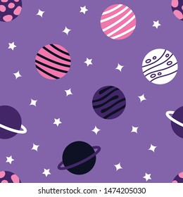 Universe With Planets Seamless Pattern. Vector Illustration