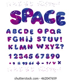 universe space color alphabet typeface. kid font element set. child style ABC vector illustration.