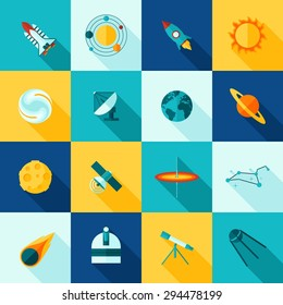 Universe space symbols satellite rocket planet and  constellation flat color long shadows icon set isolated vector illustration