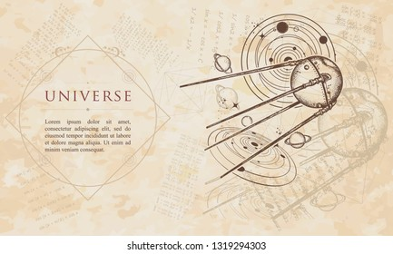 Universe. Sputnik space ship. Symbol of space expedition, research of solar system. Renaissance background. Medieval manuscript, engraving art