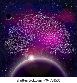 Universe with stars, nebula, planet and polygonal oak. Vector illustration