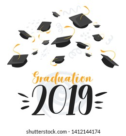 University 2019 class graduation flat vector poster template. Students mortar boards with tassels illustration. College, school grad congratulation, commencement ceremony web banner layout