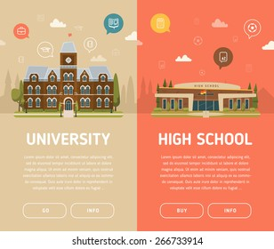 University building and high school building vector illustration
