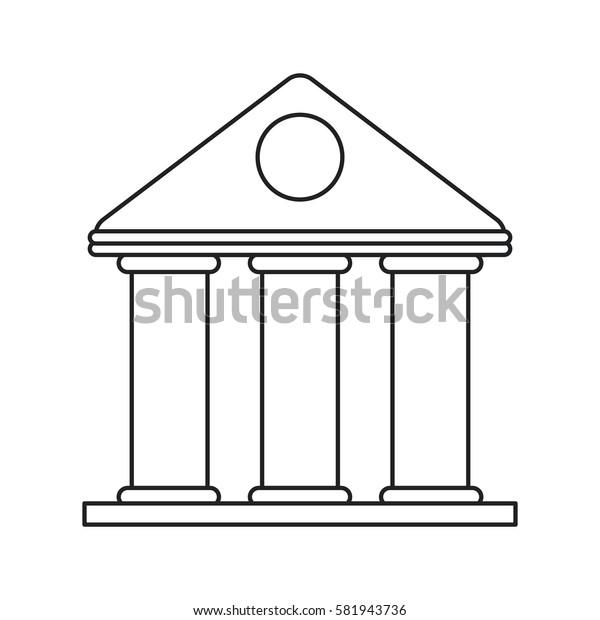 university building style temple thin line