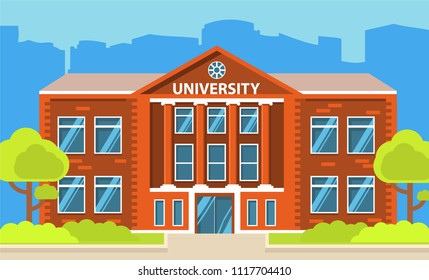 University building.Education student.City landscape house facade.College building.Concept of design horizontal banner flat vector.City skyline with skyscrapers.
