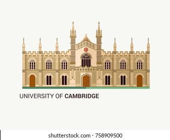 University of Cambridge. Flat Vector Illustration.