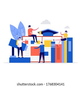 University campus vector illustration concept with students and school elements. Modern flat style for landing page, mobile app, poster, flyer, template, web banner, infographics, hero images.