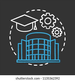 University chalk concept icon. High education idea. Student's graduation hat, cogwheels, college building. Vector isolated chalkboard illustration