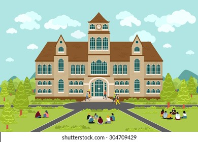 University or college building. Education student, flat campus design, graduation university, vector illustration