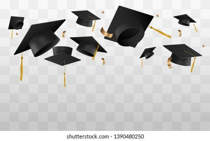 University or college caps fly in the air in a moment of celebration vector illustration isolated on transparent background. Banner template for graduation ceremony.