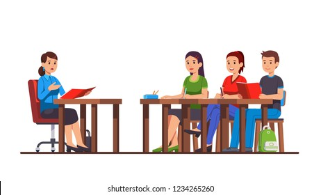 University or college classroom lesson. Teacher conducts a lecture speaking to students group class sitting at school desks studying. Flat style cartoon character vector isolated illustration