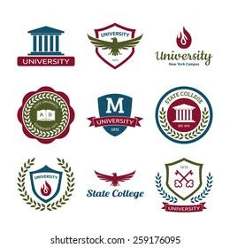 University and college school logo emblems