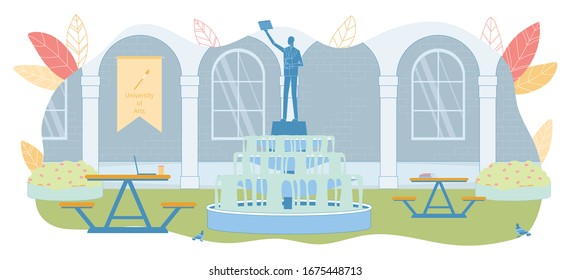 University Corridor with Arche Empty Exterior. Hanging Flag, Monument of Person with Raised Hand and Book on Fountain with Flowing Water. Recreation Place. Literature and Drink on Table