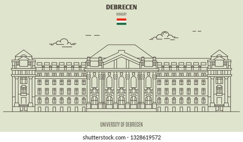 University of Debrecen in Debrecen, Hungary. Landmark icon in linear style