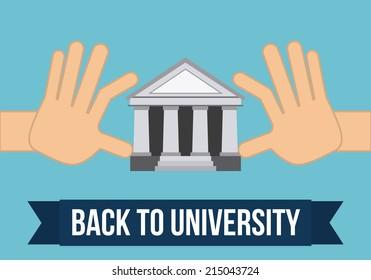 university design over blue background vector illustration