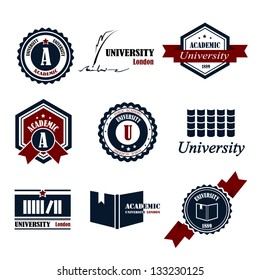 University Emblems And Symbols - Isolated On White Background - Vector Illustration, Graphic Design Editable For Your Design. University Logo