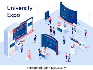 University Expo Stands. Exhibition Demonstration Stand and Trade Stalls with People. Educational Fair. Information on Screen. Promo Panel with Desk 3D Isometric Vector Illustration. Horizontal Banner.