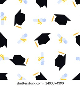 University Graduation Cap. Academic mortarboard with Tassel. Scroll tied with a ribbon and graduate hat seamless pattern. Diploma with bowknot.