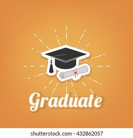 University and Graduation design over yellow background, vector illustration. Graduate cap, hat.