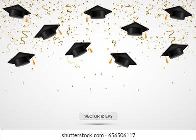 University Graduation hats with confetti. Celebration background. Vector illustration.