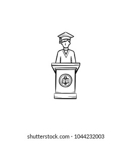 University graduation student hand drawn outline doodle icon. Student giving a speech at the graduation of university vector sketch illustration for print, web, mobile isolated on white background.