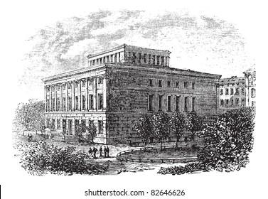 University of Halle-Wittenberg vintage engraving. Old engraved illustration of university of Halle-Wittenberg,1800s. Trousset encyclopedia (1886 - 1891).