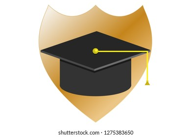 University hat with shield.