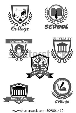 University High School College Academy Template Stock Vector
