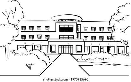 University Highschool Building line art drawing in doodle style