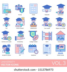 University icons including fee, faculty, grade, graduation, phd, honors student, valedictorian, magna cum laude, summa, scholarship, football, dorm, roommate, academic advisor, sat, gpa, online course