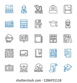 university icons set. Collection of university with graduation, degree, open book, school, diploma, curriculum, book, blackboard, books. Editable and scalable university icons.