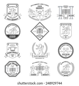 University labels crests sheilds and insignias set with lion griffin and graduation hat education symbols isolated vector illustration