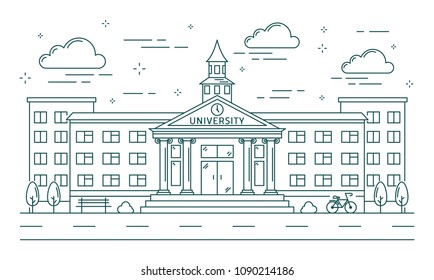 University line building illustration on white background.