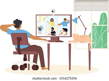 An university man study from home through online application in minimal vector design. Work from home-online video conference study due to the covid19 outbreak