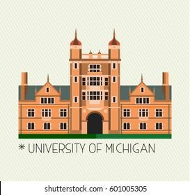 University of Michigan Icon. Vector Illustration.
