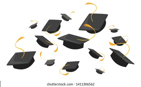 University mortarboards throwing tradition flat illustration. College, school graduation ceremony. Academic hats with tassels. Higher education, bachelor, master degree. Commencement, grad celebration