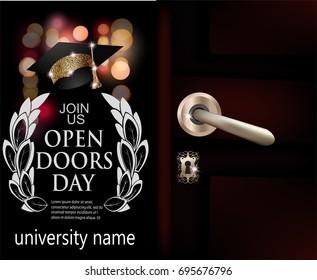 University open doors day invitation card. Vector illustration