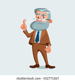 University professor holding up the index finger. Vector illustration isolated on white background. Cartoon character.