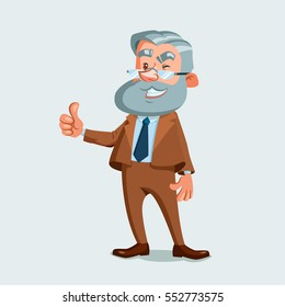 University professor showing thumb up. Vector illustration isolated on white background. Cartoon character.