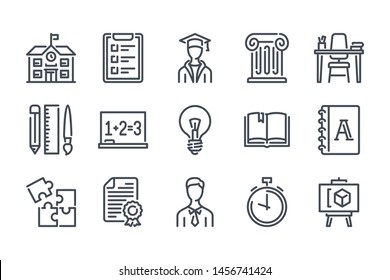 University related line icon set. Knowledge linear icons. Education outline vector signs and symbols collection.
