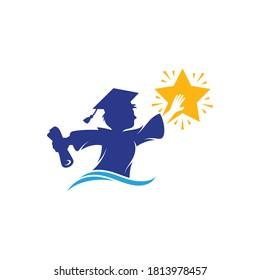 University student reaching stars. High-achieving school graduates. Scholar and star logo concept. Modern school university education logo template